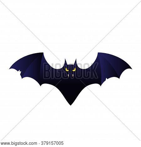 Cartoon  Bat Vampire Flying. Template For The Halloween. Mystical Illustration. Bat Vampire Logo