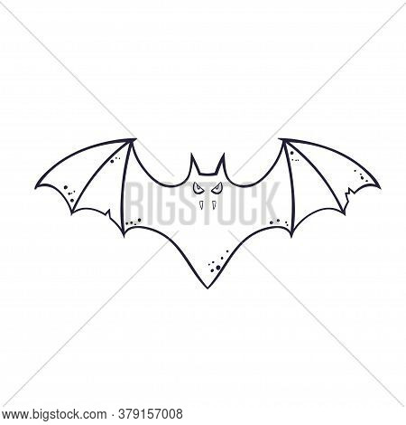 Horror Silhouette Of A Bat Vampire Flying. Template For The Halloween. Mystical Illustration. Outlin
