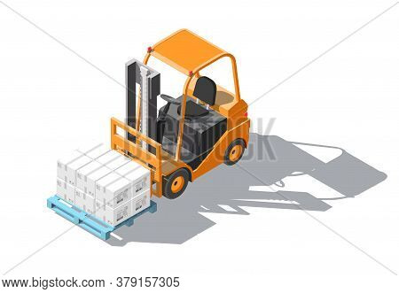 Isometric Forklift Truck With Pallet And Boxes Isolated On White Background. Fork Loader, Logistics