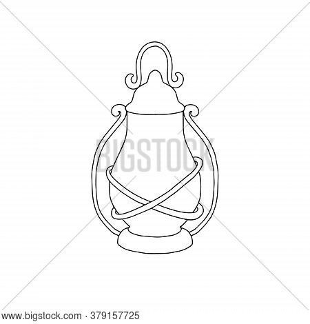 Ancient Old-fashioned Oil Lamp Vector Illustration Vintage Home Decoration In Minimalist Hand Drawn