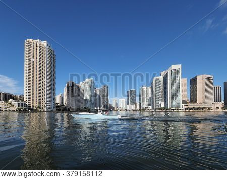 Miami, Florida 08-12-2018 - Biscayne Bay At Entrance To Miami River On Calm Sunny Summer Morning.