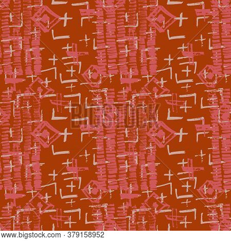 Tie Dye Japanese Geometric Autumn Seamless Pattern. Scribble Cartoon Doodle Craft Texture. Geo Wabi