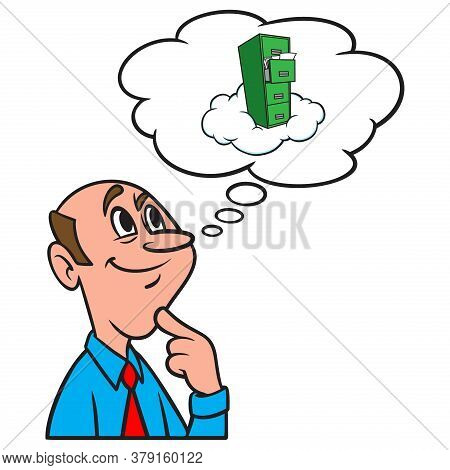 Thinking About Cloud Storage - A Cartoon Illustration Of A Man Thinking About Internet Cloud Storage