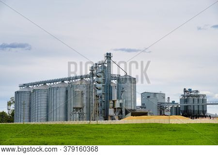 Modern Granary Elevator. Metal Silos For Grain Storage, Drying, Cleaning Agricultural Products, Flou