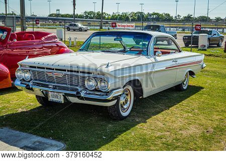 Daytona Beach, Fl / Usa - March 25, 2018: 1961 Chevrolet Impala Bubbletop Coupe At The Spring 2018 D