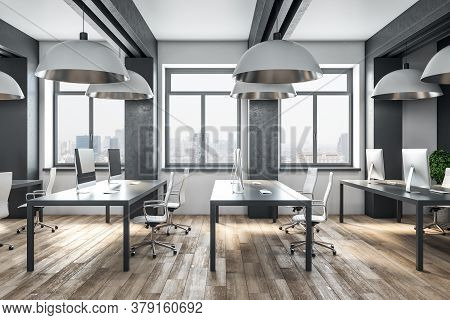 Contemporary Coworking Office Interior With City View, Daylight, Furniture, Equipment And Reflection