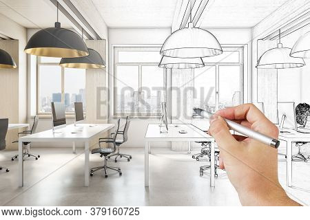 Hand Drawn Meeting Room Office Interior With City View And Daylight. Architecture And Drawing Concep