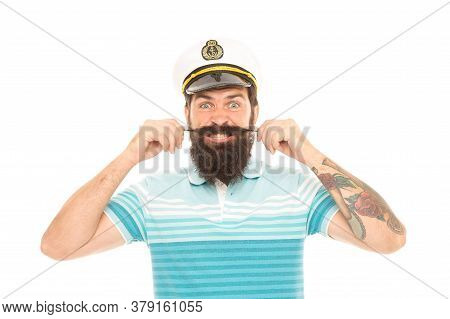 Man Cheerful Captain Sailor Hat Trip Around World, Mad About Travel Concept.