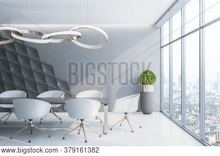 Bright Concrete Office Interior With City View, Daylight, Furniture And White Chairs. 3d Rendering