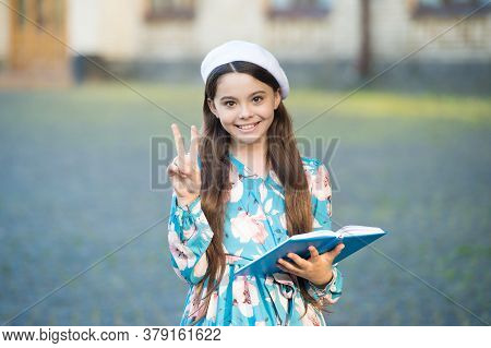 Girl Student Inspired Reading Recite Poetry, Having Fun Concept.