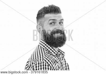 He Know Better. Hipster Client Visiting Barber Shop. Male Beauty Portrait. Well-groomed Bearded Man.