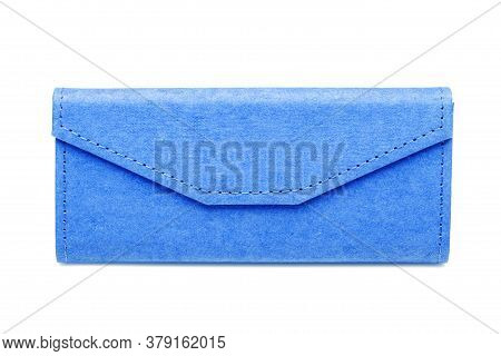 Eyewear Shopping Blue Gift Box From Eco Material, On A White Background, Mockup With Copy Space For