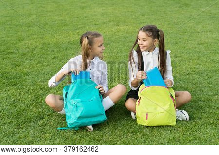 Group Study Outdoors Girls Classmates With Backpacks, Back To School Concept.