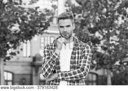 Spring Fashion For Men. Confident Position. Good Looking Guy Stand Outdoors With Crossed Arms. Chari