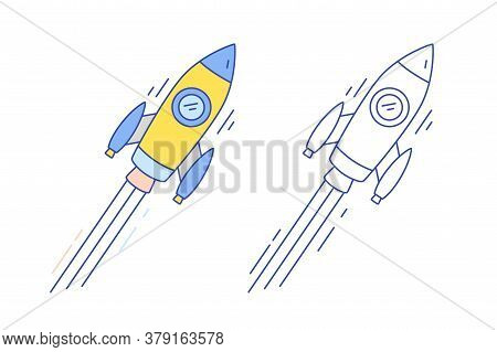 Concept Of Product Development, Project Launching, Startup. Colorful, Monochrome Flying Spaceship, S
