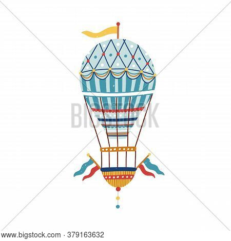 Vintage Victorian Vivid Striped Air Hot Balloon. Flying Ornamented Childish Aerostat With Flag Baske