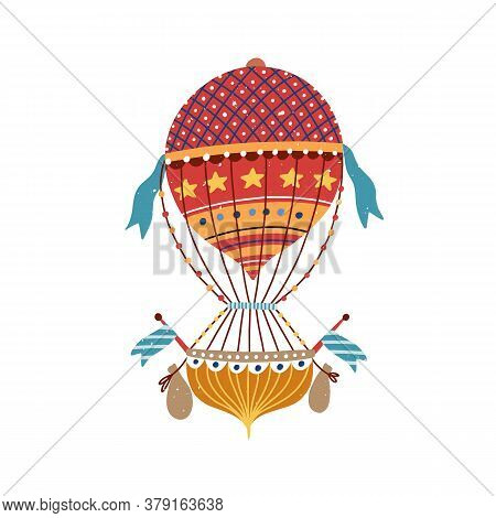 Vintage Vivid Victorian Ornamental Striped Hot Air Balloon With Star, Flag. Flying Dotted Aerostat F