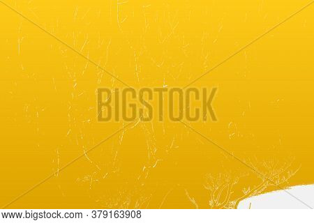 Empty Grunge Yellow Color Background. Distressed Orange Color Patina Texture With Peeled Paint And S