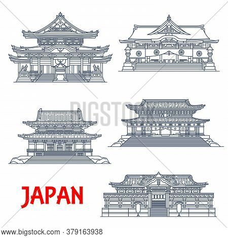 Japanese Travel Landmark Thin Line Design Of Asian Religious Buildings, Vector Architecture. Buddhis