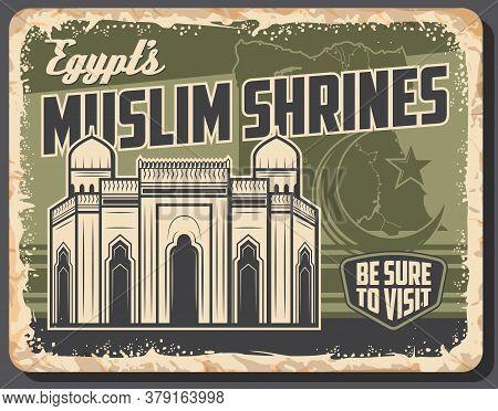 Egypt Travel Landmark Retro Poster Of Vector Egyptian Tourism. Alexandrian Muslim Mosque Or Shrine W