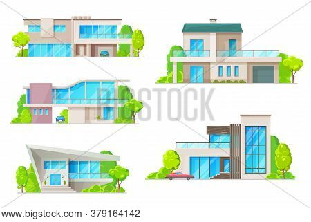 Real Estate House Building Isolated Icons With Vector Homes. Residential Villa, Cottage, Bungalow An