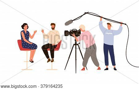 Talk Show Studio With Interviewing, Discussing Hosts. People Recording Tv Program, Cameraman, Journa