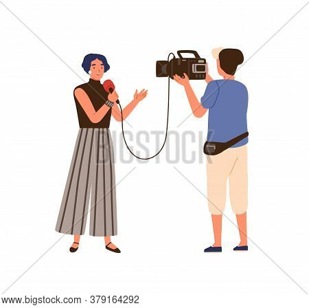 Woman Reporter And Operator. Correspondent People Make News Live Program, Real Time, On Air. Tv Vide