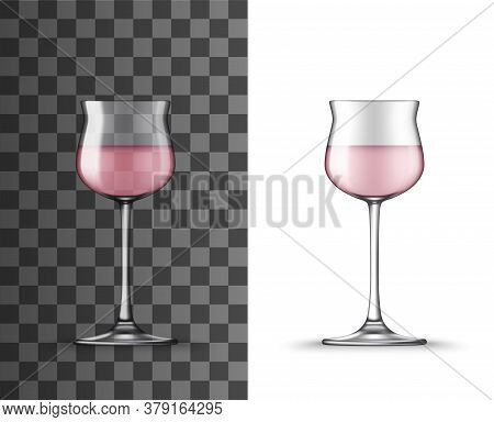 Rose Wine Glass Realistic Mockup Of Vector Alcohol Beverage Wineglass. Isolated Glassware Or Stemwar