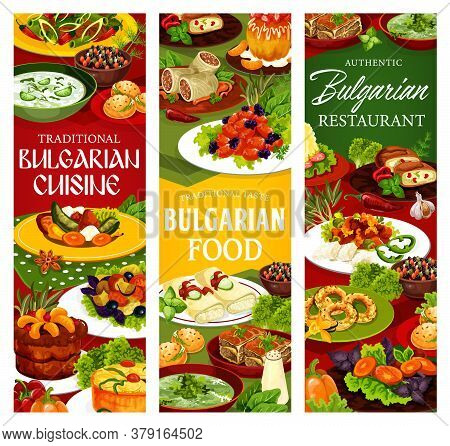 Bulgarian Cuisine Restaurant Vector Banners With Yogurt Soup Tarator, Bryndza Cheese And Vegetable S