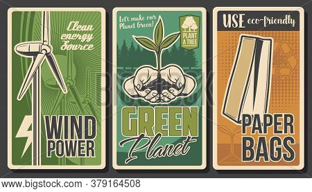 Ecology Vector Banners, Green Energy, Environment, Eco Nature And Recycling. Ecology Power Wind Turb