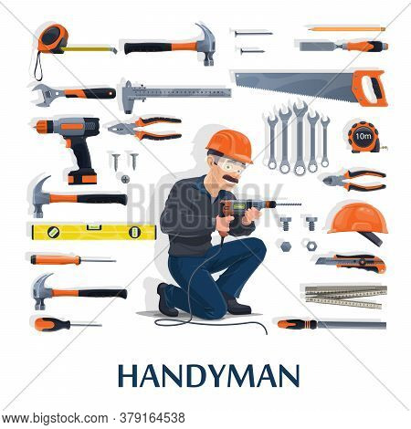 Handyman With Work Tools Cartoon Vector Of Construction Industry, House Repair And Renovation Design