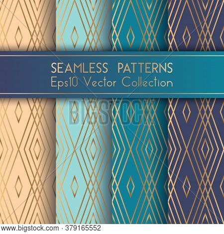 Art Deco Geometric Seamless Patterns Set Vector Graphic Design With Rhombus Shapes And Thin Gold Lin