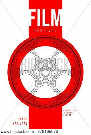 Movie And Film Poster Design Template Background With Film Reel And Line Pattern. Design Element Can
