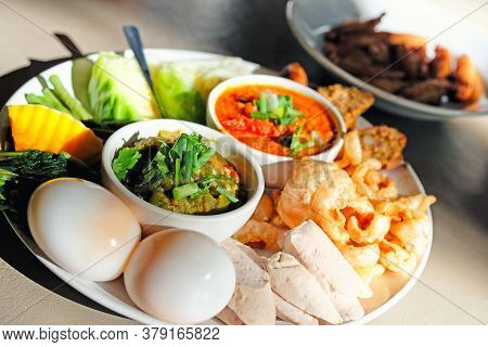 Thai Food - Northern Style Red And Green Chilli Dips With  Northern Thai Spicy Sausage (sai Oua), St
