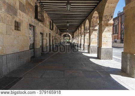 Salamanca, Spain, July 2020 - A Covered Arcade In The City Of Salamanca, Spain