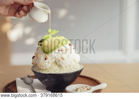Healthy Bingsu Shaved Ice Dessert With Almond And Avocado Topping, Ketogenic Low Carb Vegan Plant-ba