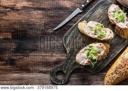Turkey Liver Pate On Whole Grain Baguette With Microgreens