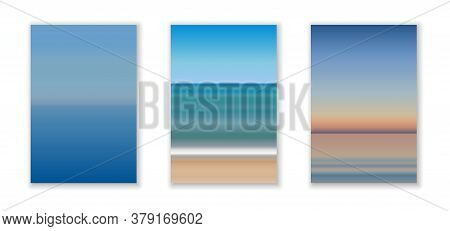 Morning, Day, Evening Seascape View, Sky And Sea Landscape Background In Natural Gradient Colors, Mi