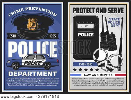 Police Department Serve And Policing, Law And Justice Vector Design. Police Officer Uniform Cap With