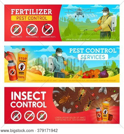 Pest Control Service Vector Banners With Pest Insects, Bugs, Rodent Animals And Exterminators. Cockr