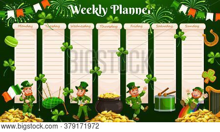 Weekly Planner Vector Template Of Timetable, Schedule And Organizer. Week Chart For To Do List, Day