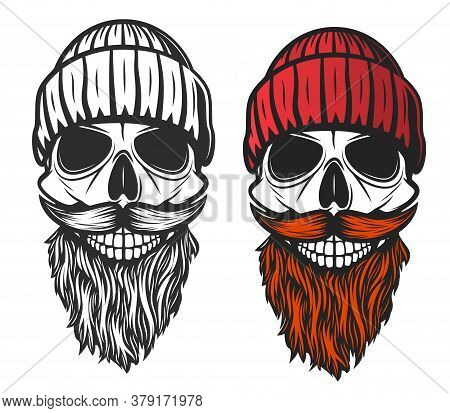 Skull With Red Beard, Mustache And Knitted Hat. Vector Skeleton Head Of Dead Lumberjack Or Forester,