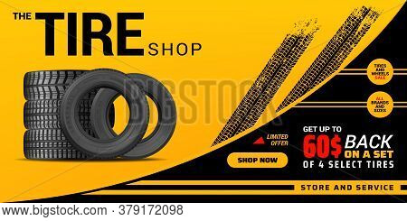 Tire Shop, Auto Service And Car Wheel Tyre Store Vector Design. Pile Of Automobile Black Rubber Tire