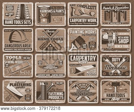 Work Tool And Equipment Retro Posters Of Vector Construction Industry, House Repair, Diy, Carpentry,
