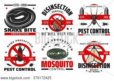 Pest Control And Disinfection Service Isolated Vector Icons With Insects And Insecticide. Mosquito,