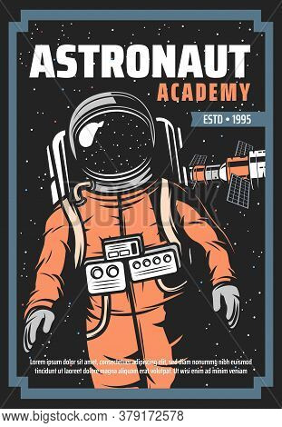 Astronaut And Space Station Retro Poster Of Vector Astronomy Science And Universe Galaxy Exploration
