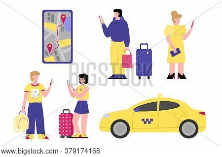 Online Taxi Service Set Of Cartoon Passengers And Taxi Car, Flat Vector Illustration Isolated On Whi