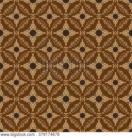 Central Java Batik Art Work With Beautiful Seamless Flower Motif And Brown Color.