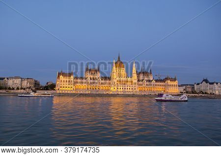Budapest, Hungary - August 14, 2019: View Of The Building Of The Hungarian Parliament In Budapest Fr
