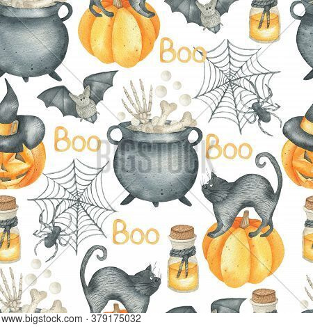 Halloween Seamless Pattern With A Black Cat, A Bat, A Spider, A Spider Web And A Witch's Cauldron. O